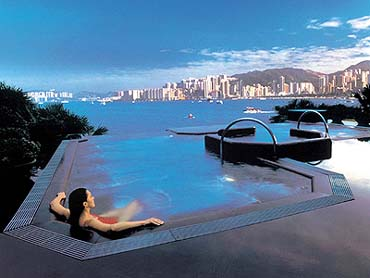 View of the Spa and Pool Area of the Hotel Inter-Continental of Hong Kong
